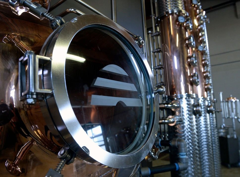 (Al Hartmann | The Salt Lake Tribune) The new 450-gallon copper still at Beehive Distilling's new Salt Lake City location at 2245 S. West Temple. Beehive will continue to make its signature Jack Rabbit gin, but the larger still means it can start producing whiskey and other spirits.