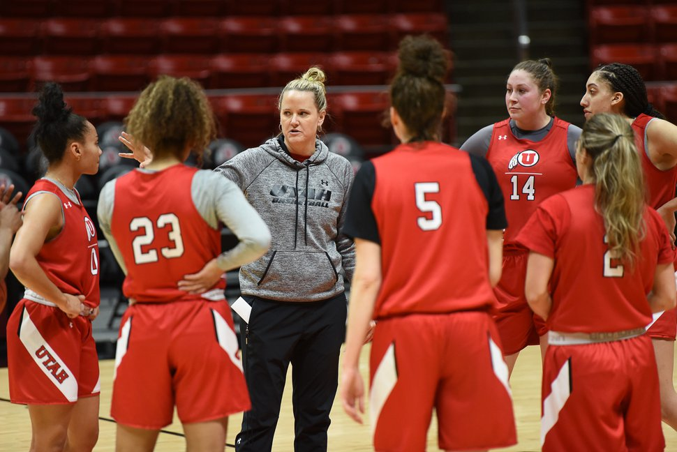 (Francisco Kjolseth | The Salt Lake Tribune) Utah women's basketball head coach Lynne Roberts talks to her team during practice at the Jon Huntsman Center on Wed. Jan. 2, 2019, as they prepare for their next game on Friday. The team is having one of the best starts in program history at 12-0.