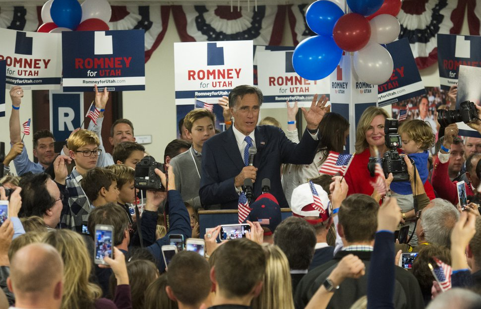 (Rick Egan | Tribune file photo) Mitt Romney gives his victory speech, at the Romney Headquarters, in Orem, on election night, Tuesday, Nov. 6, 2018.