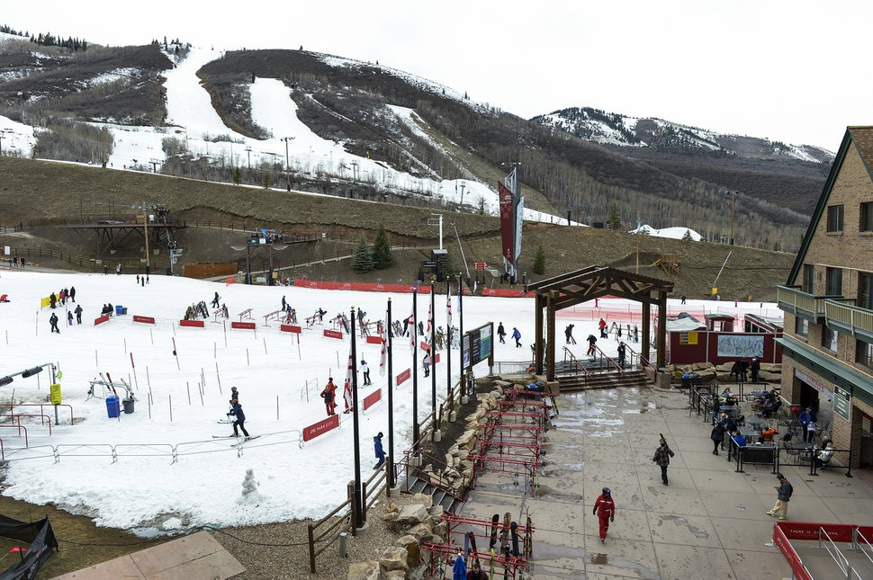(Leah Hogsten   The Salt Lake Tribune) Park City Mountain Resort, Thursday, April 5, 2018. Despite the late arriving and limited snow this year, Utah ski resorts say they fared well because of snowmaking and the provision of side activities that helped ensure destination visitors had a good time while they were here, snow or no snow.