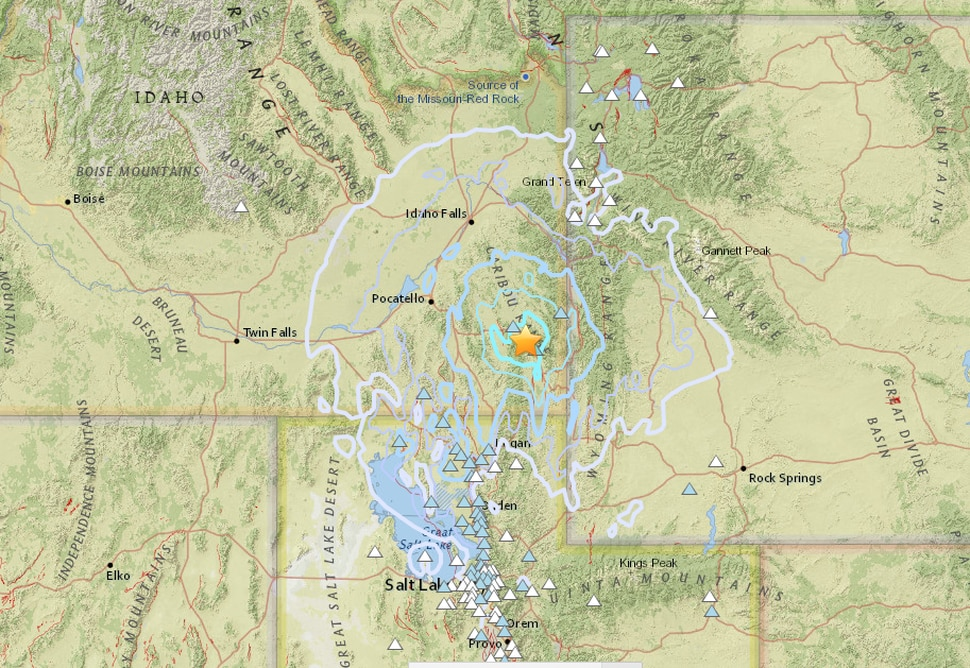 (This photo is a screenshot from the United States Geological Survey website) . A 4.7-magnitude earthquake hit in Soda Springs, Ida., Thursday night, sending seismic waves into neighboring states.