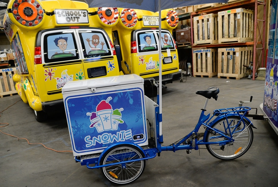 (Francisco Kjolseth | The Salt Lake Tribune) Buses, kiosks, buildings and carts were on display for Snowie, a 41-year-old Utah company, hosting its 6th Annual Snowie Summit for two days starting on Thursday, Feb. 28, 2019. About 150 people from across the country learned about what's new in the shaved ice business.