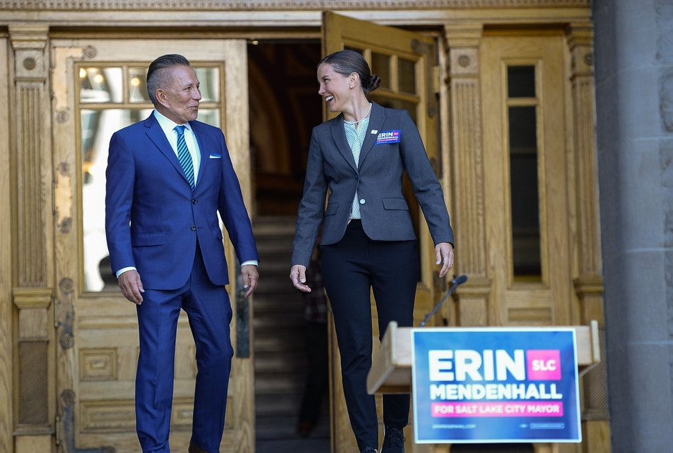 (Francisco Kjolseth | The Salt Lake Tribune) Salt Lake City Councilwoman Erin Mendenhall announces an endorsement from former opponent David Ibarra as they gather on the West steps of the Salt Lake City and County Building on Thursday, Oct. 3, 2019.