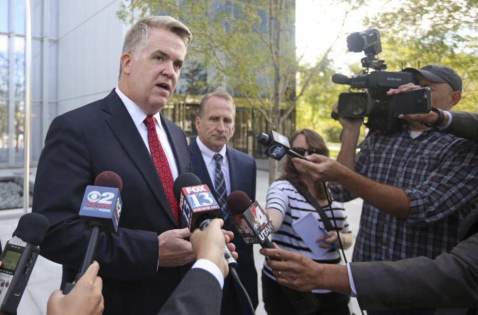 United States Attorney John W. Huber speaks outside the federal courthouse Wednesday, Sept. 20, 2017, in Salt Lake City. Jeffs, a polygamous sect leader recaptured after a year on the run in a fraud case, pleaded guilty Wednesday, Sept. 20, 2017, in an escape and food-stamp fraud cases, in federal court in Salt Lake City. Jeffs is facing federal charges in what prosecutors call a multimillion-dollar food-stamp fraud scheme as well as his escape from home confinement. (AP Photo/Rick Bowmer)