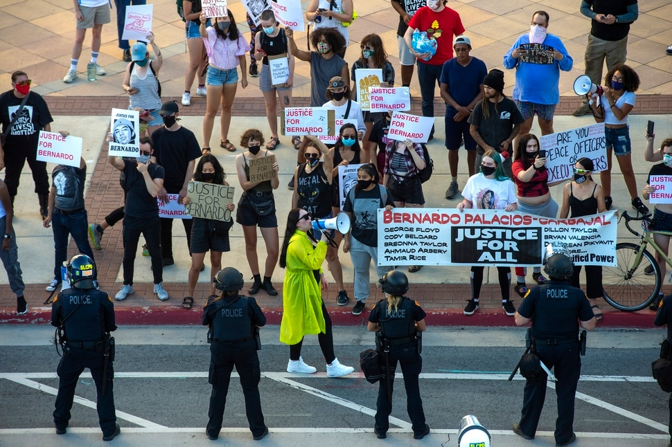 (Rick Egan | The Salt Lake Tribune) Sofia Alcala leads protesters in chants as they face off with the Salt Lake City Police, who threatened to arrest anyone who stepped off of the sidewalk during a Justice for Bernardo Palacios march in Salt Lake City on Tuesday, June 23, 2020.