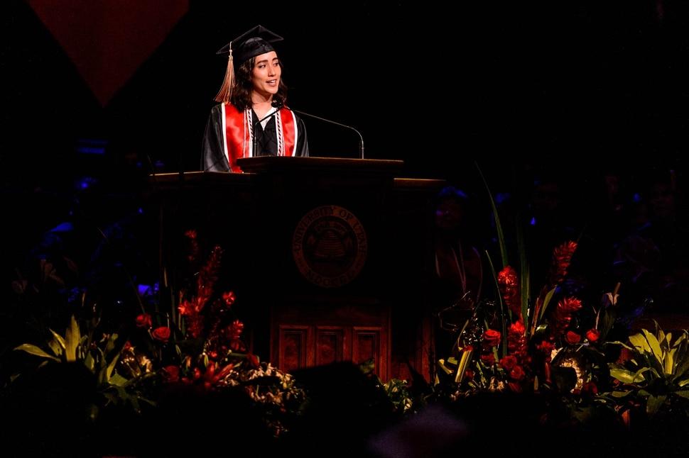 (Trent Nelson   The Salt Lake Tribune) Alisa Cloward speaks at the University of Utah's commencement ceremony, in Salt Lake City on Thursday May 2, 2019.