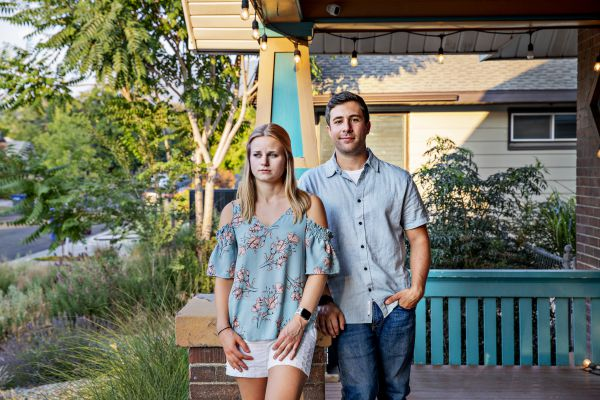 (Kim Raff | The New York Times) Rob Ettaro and Kaliana Veros at their home in Salt Lake City, July 12, 2021. Tired of sky high prices and losing out in bidding wars, some buyers are giving up and putting their house hunt on hold.