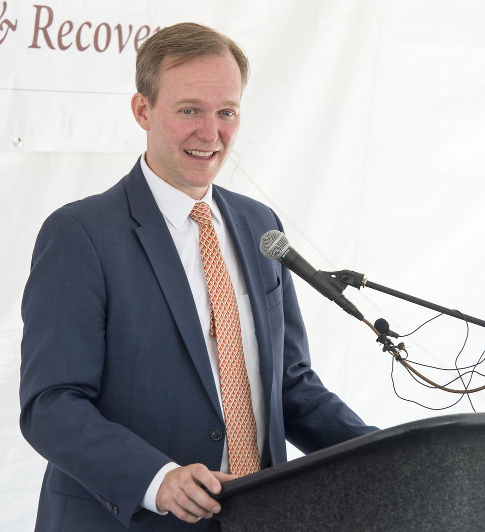 (Rick Egan | The Salt Lake Tribune) Salt Lake County Mayor, Ben McAdams, says a few words during the news conference announcing the new employment program at the First Step House, with KeyBank Foundation and Salt Lake County Housing and Community Development, Friday, June 29, 2018.