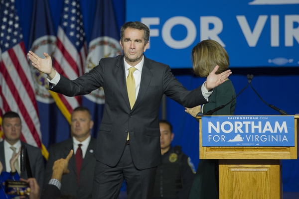 Virginia Gov.-elect Ralph Northam celebrates his election victory and addresses supporters and at the Northam For Governor election night party at George Mason University in Fairfax, Va., Tuesday, Nov. 7, 2017. (AP Photo/Cliff Owen)
