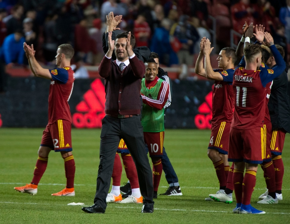 (Rick Egan | The Salt Lake Tribune). Real Salt Lake head coach Mike Petke celebrates with his team after Real Salt Lake beat Atlanta United 2-1in MLS soccer action between Real Salt Lake and Atlanta United at Rio Tinto Stadium in Sandy, Friday, May 24, 2019.