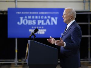 (Evan Vucci | AP) President Joe Biden delivers a speech on infrastructure spending at Carpenters Pittsburgh Training Center, Wednesday, March 31, 2021, in Pittsburgh.