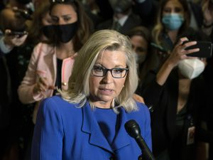 (Manuel Balce Ceneta | AP) Rep. Liz Cheney, R-Wyo., speaks to reporters after House Republicans voted to oust her from her leadership post as chair of the House Republican Conference because of her repeated criticism of former President Donald Trump for his false claims of election fraud and his role in instigating the Jan. 6 U.S. Capitol attack, at the Capitol in Washington, Wednesday, May 12, 2021.