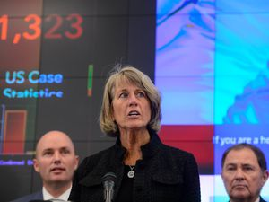 (Trent Nelson  |  The Salt Lake Tribune) Noelle Cockett, president of Utah State University, speaks at a news conference in the state's Emergency Operations Center  on Thursday, March 12, 2020 addressing the current state of COVID-19 in Utah. Results from the Utah Board of Higher Education's independent investigation into discriminatory remarks allegedly made by Cockett about then-interim head coach Frank Maile are expected to be released Friday.
