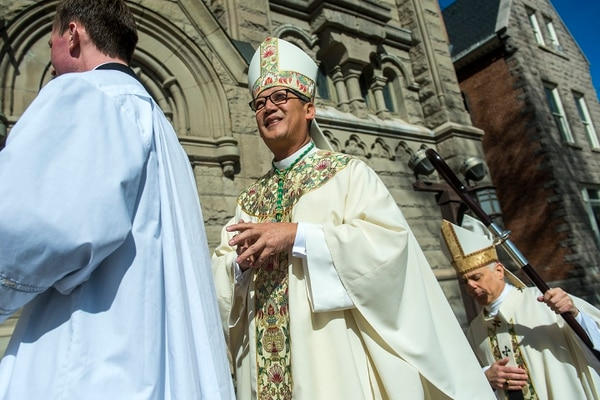 Chris Detrick | The Salt Lake Tribune Bishop Oscar Solis walks into the Cathedral of the Madeleine before being installed as the 10th bishop of the Diocese of Salt Lake City on Tuesday, March 7, 2017.