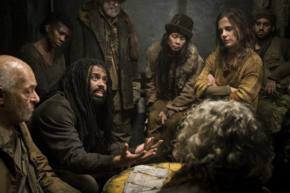 "(Photo courtesy of Justina Mintz/TNT) Daveed Diggs (third from left) and Katie McGuinness (second from right) star in ""Snowpiercer."""