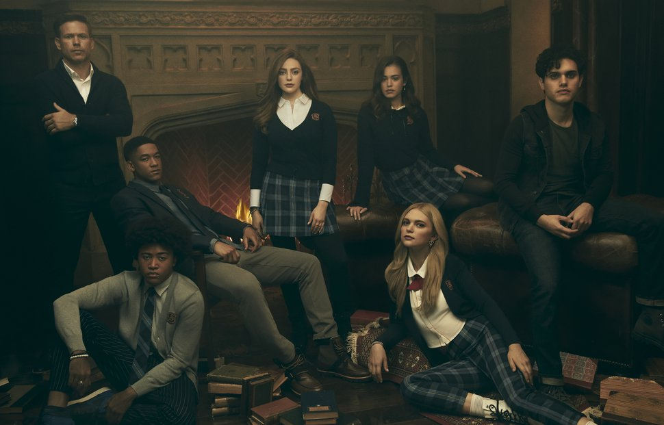 "(Photo courtesy Miller Mobley/The CW) Matthew Davis as Alaric, Quincy Fouse as MG, Peyton Alex Smith as Rafael, Danielle Rose Russell as Hope, Kaylee Bryant as Josie, Jenny Boyd as Lizzie, and Aria Shahghasemi as Landon in ""Legacies."""