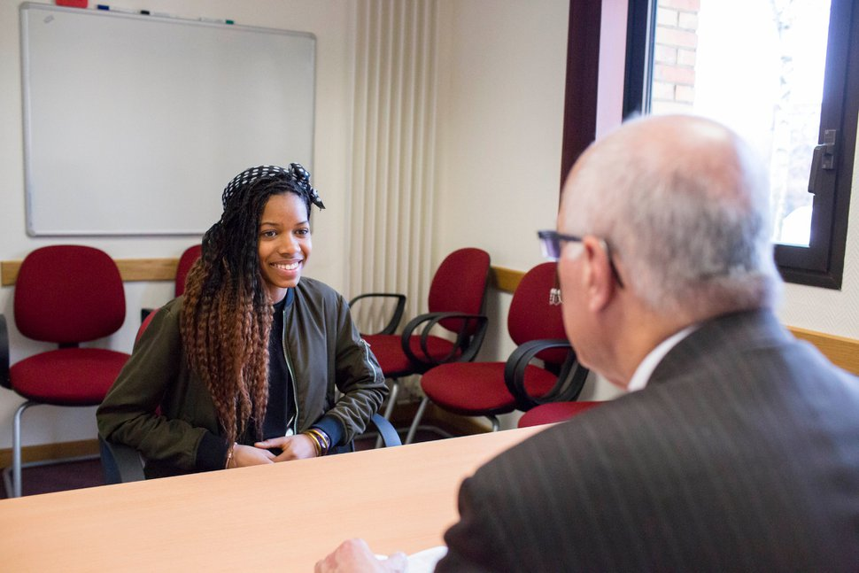 (Photo courtesy of The Church of Jesus Christ of Latter-day Saints) Local lay leaders such as bishops regularly interview youths and other members of their Latter-day Saint congregations.