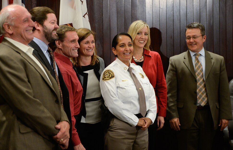 (Francisco Kjolseth | The Salt Lake Tribune) Members of the Salt Lake County Council gather for a photo with newly appointed sheriff Rosie Rivera at Salt Lake County Chambers on Tuesday, Aug. 15, 2017. Rivera becomes the county's first female sheriff and the only woman overseeing a sheriff's office in Utah.