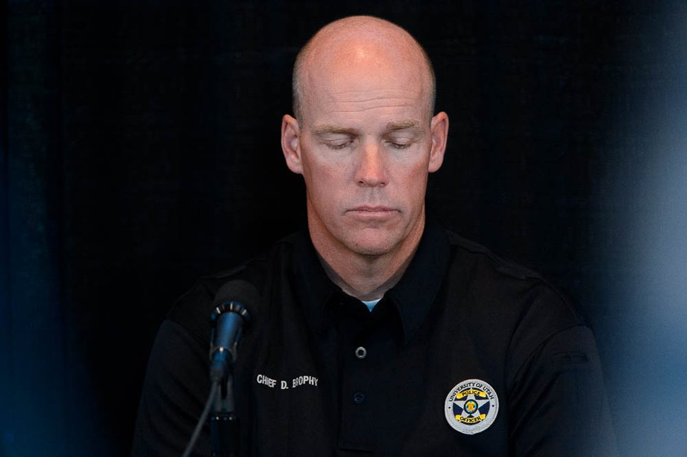 (Trent Nelson | The Salt Lake Tribune) University of Utah Police Chief Dale Brophy at a press conference regarding the killing of University of Utah student athlete Lauren McCluskey, in Salt Lake City, Thursday Oct. 25, 2018.