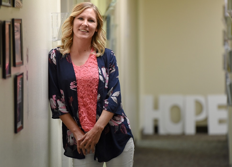 (Francisco Kjolseth | The Salt Lake Tribune) Trying to treat her postpartum depression in 2007, Savannah Eley borrowed a Percocet pill from her then-husband and soon became addicted. It took hold of her for 10 years but compassion and support by two officers turned her life around. Now two and half years clean, Eley works as a peer support specialist at the Southeast Utah Health Department in Price.