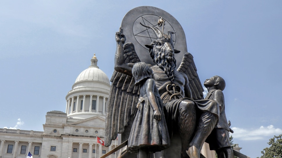 (Photo courtesy Magnolia Pictures) A statue of Baphomet, created by The Satanic Temple, in front of the Arkansas state capitol in Little Rock, where a First Amendment battle over a Ten Commandments monument brewed, as shown in the documentary Hail Satan?