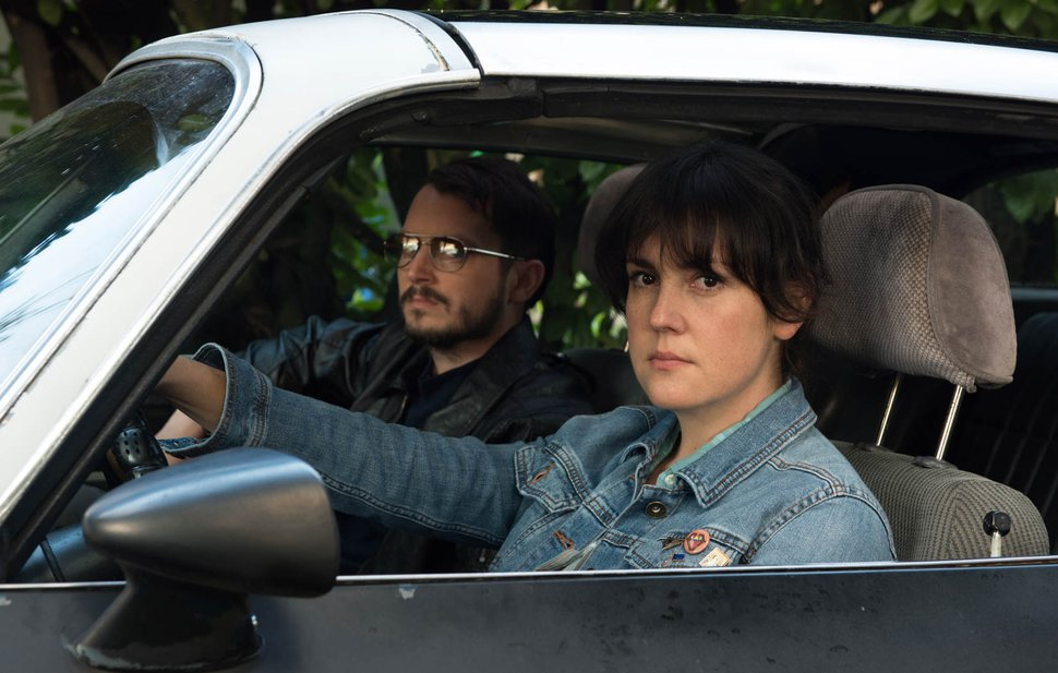 Allyson Riggs | courtesy Sundance Institute Elijah Wood (left) and Melanie Lynskey play neighbors who team up to investigate a crime in writer-director Macon Blair's thriller