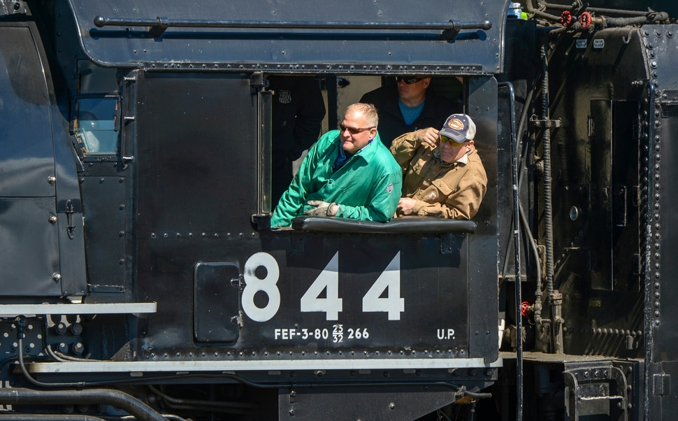 Leah Hogsten | The Salt Lake Tribune l-r Steve Lee and the crew of the Living Legend No. 844 watch as the Big Boy No. 4014 arrives in Ogden during ThursdayÕs ceremony. In celebration for the 150th anniversary of the transcontinental railroadÕs completion, Union Pacific's iconic steam locomotives, Living Legend No. 844 and Big Boy No. 4014 met at Ogden Union Station, May 9, 2019.