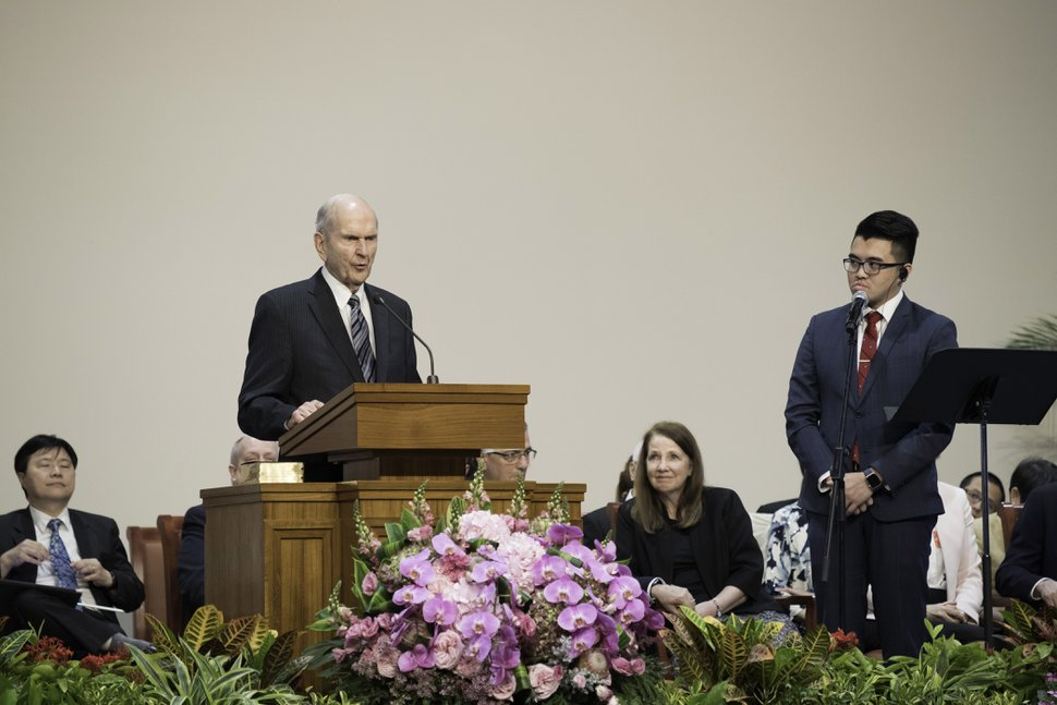 """(Courtesy of the LDS Church) Speaking to Latter-day Saints in Hong Kong on April 21, 2018, church President Russell M. Nelson said, """"Everything we do in the Church is to make life better for other people, to bring them joy."""""""