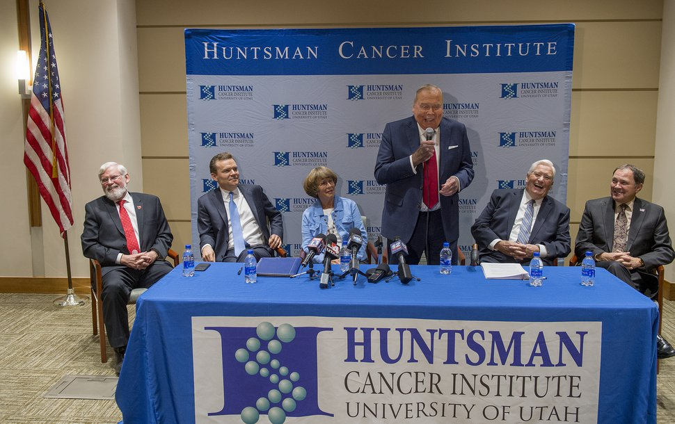 (Leah Hogsten | The Salt Lake Tribune) Jon Huntsman, Sr. draws a laugh from those in attendance. Officials at the University of Utah and Huntsman Cancer Institute have resolved a months-long dispute over management and finances of HCI. The university agreed to pay $68 million to the institute, to be distributed in installments. In return, the Huntsman Cancer Foundation recommitted to providing $120 million in new donations by 2025 and agreed to a detailed formula for how Huntsman Cancer Hospital revenues will be shared with the U. Health Care system and the Huntsman Cancer Institute.