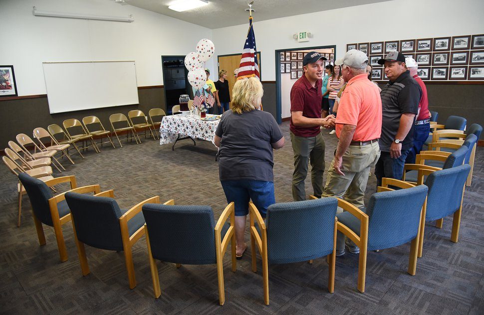 (Francisco Kjolseth | Tribune file photo) Residents of the town of Fielding in northern Utah welcome Lt. Gov. Spencer Cox as he attempts to visit each city and town in Utah during his gubernatorial campaign tour.