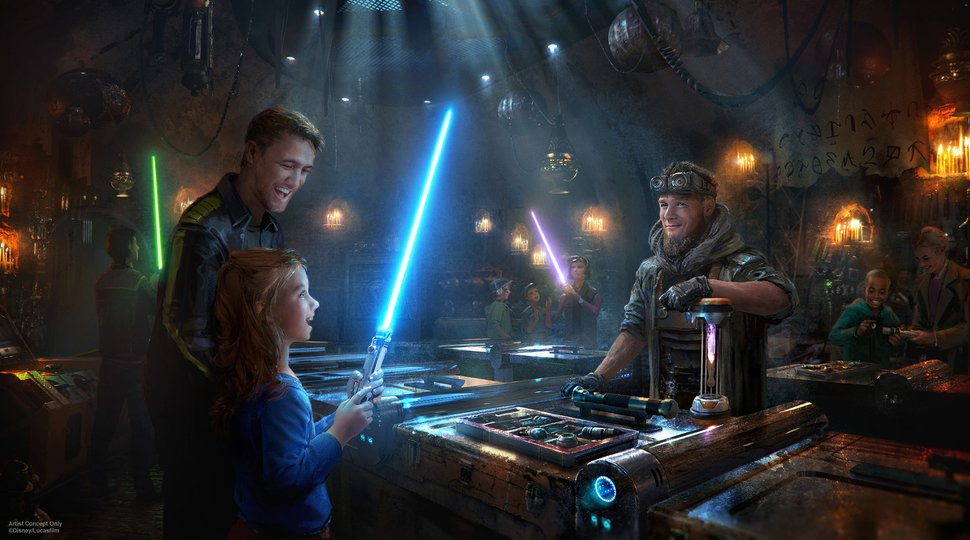 (Photo courtesy Disney Parks) Disney guests will discover exotic finds throughout Star Wars: Galaxy's Edge at Disneyland Park in Anaheim, California, and at Disney's Hollywood Studios in Lake Buena Vista, Florida. At Savi's Workshop - Handbuilt Lightsabers, guests will have the opportunity to customize and craft their own lightsabers. In this exclusive experience, guests will feel like a Jedi as they build these elegant weapons from a more civilized age.