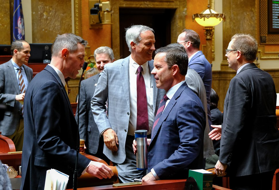 (Francisco Kjolseth | The Salt Lake Tribune) House representatives gather at the Capitol as the Legislature calls itself into special session to override Gov. Gary Herbert's vetoes of two bills.