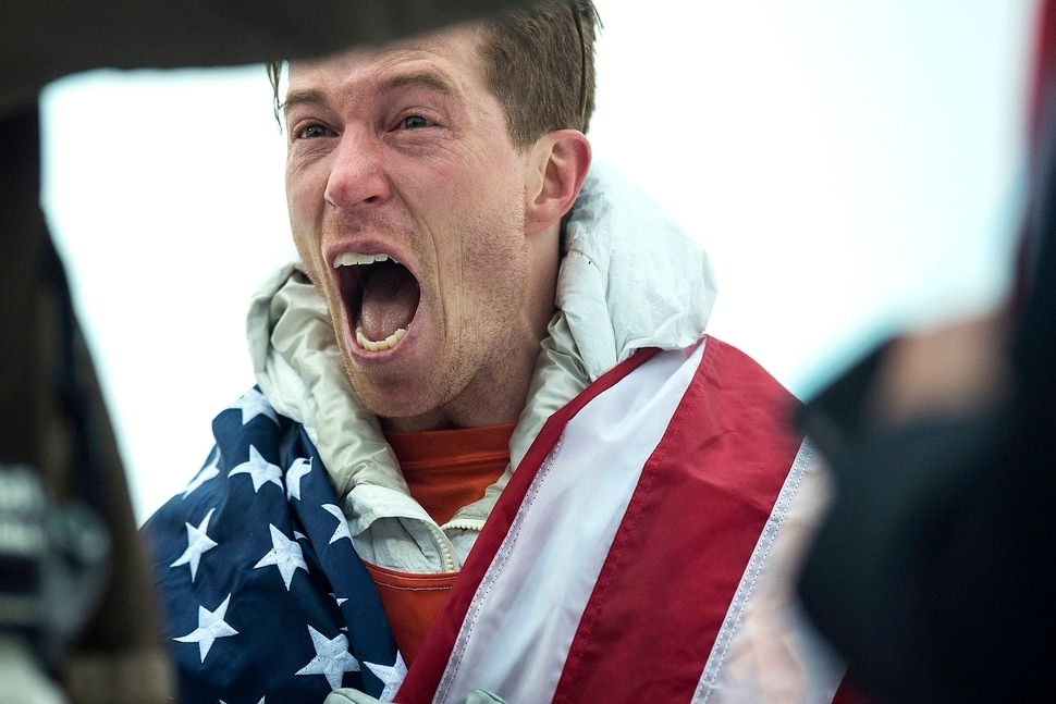 (Chris Detrick | The Salt Lake Tribune) Shaun White reacts to seeing his friends and family after winning gold after his run during the men's halfpipe finals at Phoenix Snow Park during the Pyeongchang 2018 Winter Olympics Wednesday, Feb. 14, 2018. White won the event with a 97.75, his third Olympic gold medal in the halfpipe (2006, 2010, 2018).