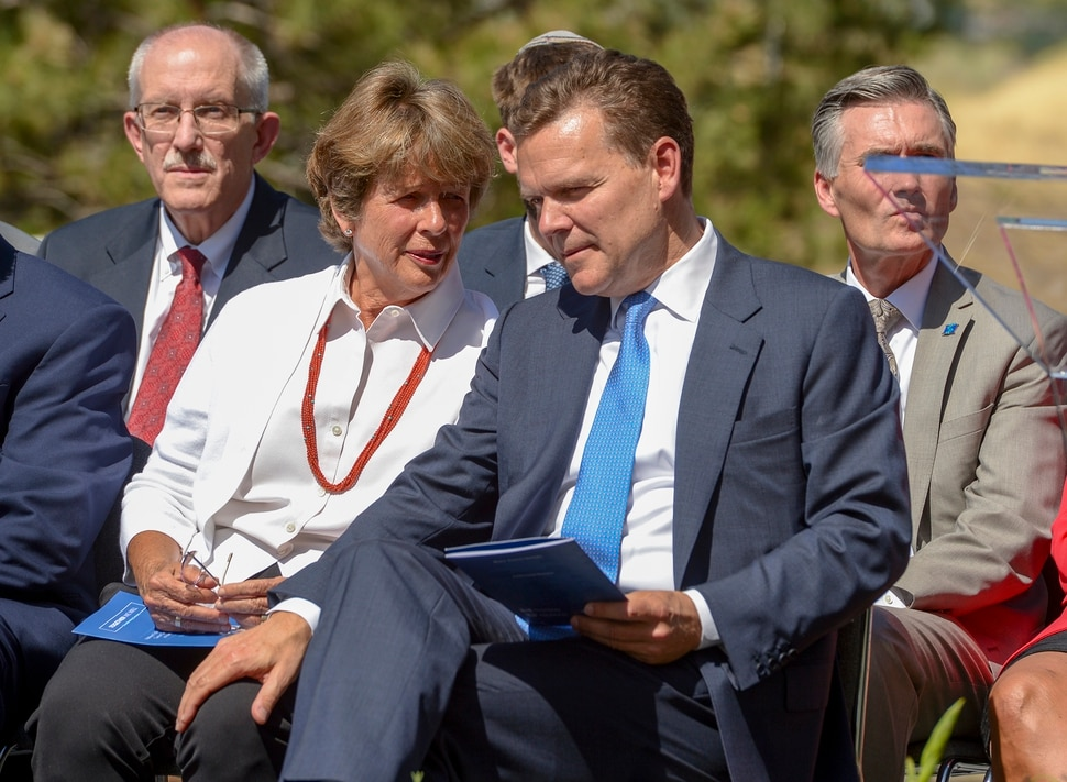 (Leah Hogsten   The Salt Lake Tribune) Karen Huntsman, wife of the late Jon M. Huntsman speaks with her son, Peter R. Huntsman, Chairman and CEO of the Huntsman Cancer Foundation, during the groundbreaking ceremony for the Kathryn F. Kirk Center for Comprehensive Cancer Care and Women's Cancers at Huntsman Cancer Institute, September 5, 2019.
