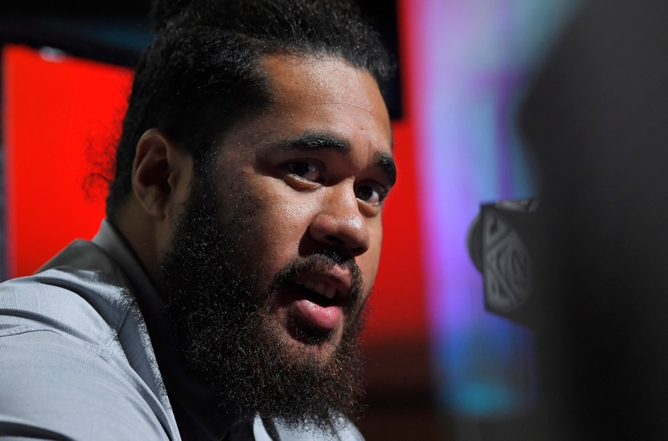 Utah offensive lineman Salesi Uhatafe speaks at Pac-12 NCAA college football Media Day, Thursday, July 27, 2017, in the Hollywood section of Los Angeles. (AP Photo/Mark J. Terrill)