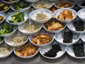 (Rick Egan  |  The Salt Lake Tribune) The Banchan — or small side dishes — at Myung Ga Korean in West Valley City.