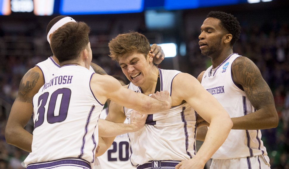 Chris Detrick | The Salt Lake Tribune Northwestern Wildcats forward Gavin Skelly (44) celebrates with his teammates during the first round of the NCAA Tournament in Salt Lake City on Thursday, March 16, 2017.