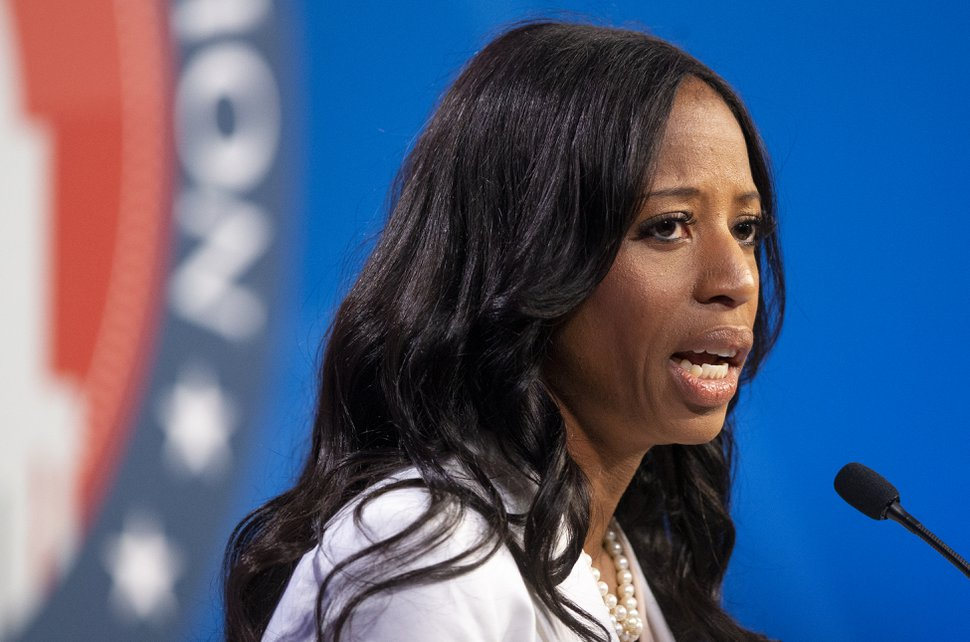 Congresswoman Mia Love answers a question as she and Salt Lake County mayor Ben McAdams take part in a debate at the Gail Miller Conference Center at Salt Lake Community College in Sandy as the two battle for Utah's 4th Congressional District on Monday, Oct. 15, 2018.
