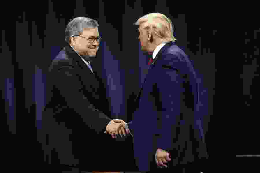 Trump denies he wanted Attorney General William Barr to publicly clear him