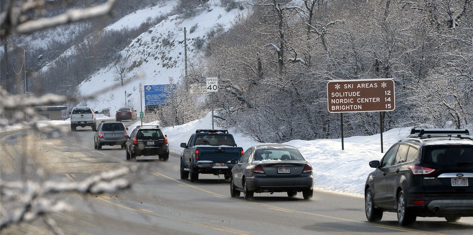 (Al Hartmann | Tribune file photo) Ski Traffic was brisk at the mouth of Big Cottonwood Canyon Friday Feb. 5.