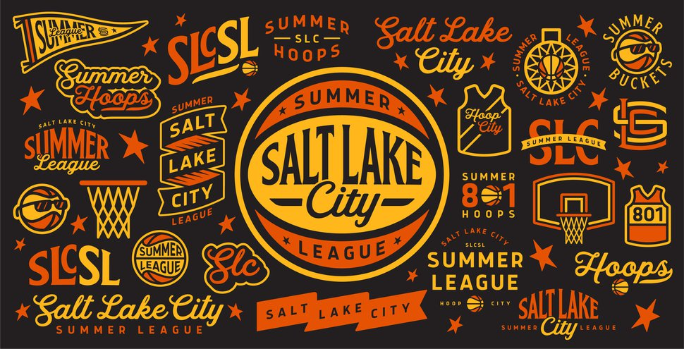 Salt Lake City Summer League logos, all designed by Ben Barnes. The primary logo is the one in the middle of the image.