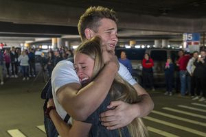 (Rick Egan  |  The Salt Lake Tribune)     Hope Preston welcomes home her brother Elder Kaleb Preston, from his mission in the Philippines, at the Salt Lake City International Airport. The Prestons are from Kaysville, Sunday, March 22, 2020.