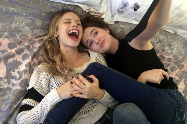 This image released by the Sundance Institute shows Halston Sage, left, and Zoey Deutch in a scene from