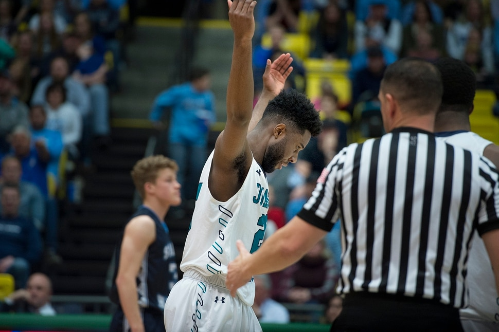 Scott Sommerdorf | The Salt Lake Tribune Juan Diego's Jason Ricketts throws up his arms in disgust after a late Salem Hills basket. Salem Hills beat Juan Diego 64-55 for the 4A boy's title, Saturday, March 3, 2018.