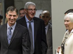 (Steve Griffin  |  Tribune file photo)  As the Utah Jazz celebrate the 1997 Utah Jazz team John Stockton, Jerry Sloan and Gail Miller walk into a press conference at Vivint Smart Home Arena in Salt Lake City Wednesday March 22, 2017.