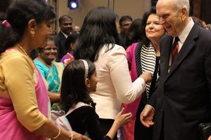 (Photo courtesy LDS Church)  LDS Church President Russell M. Nelson and his wife, Wendy, are greeted by Latter-day Saints in Bengaluru, India, on Thursday.