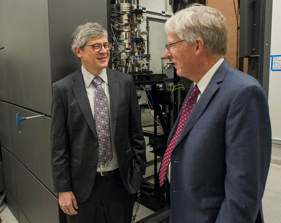 (Rick Egan | The Salt Lake Tribune) Markus Babst, Interim director of Eyring Center for Cell and Genome Science And Professor of Biology visits with Henry White, Dean of the College of Science, at the opening of the new Gary and Ann Crocker Science Center at the University of Utah, Thursday, April 19, 2018.