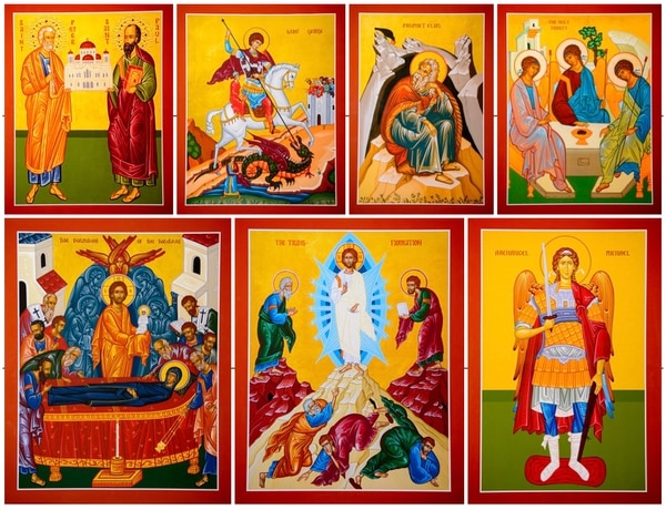 (Trent Nelson | The Salt Lake Tribune) Icons of all the namesakes of Utah Orthodox churches at St. Anna Greek Orthodox Church in Cottonwood Heights, Friday, Aug. 3, 2018.