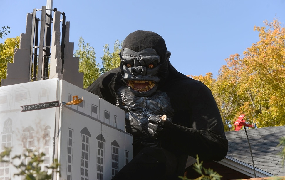 (Al Hartmann | The Salt Lake Tribune) Ammon Smith has outdone himself again this Halloween season dressing up his home along 900 East in Sugarhouse. He's done something wild and scary in his yard for the past five years. This year it's King Kong.