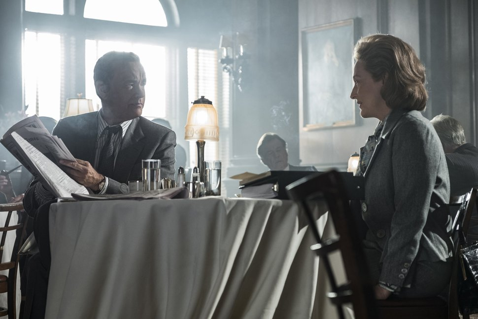 In this image released by 20th Century Fox, Tom Hanks portrays Ben Bradlee, left, and Meryl Streep portrays Katharine Graham in a scene from